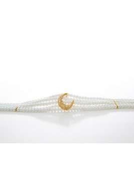 Crescent white pearls choker
