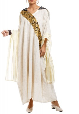 Off-White Leaves Embroidered Hooded Kaftan