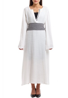 Hala White Checked Belt Kaftan
