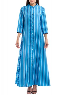 Marina Blue Sriped Button Through Kaftan