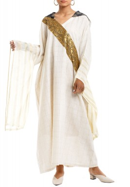 Off-White Branches Embroidered Hooded Kaftan