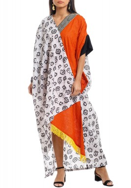 White & Orange Patterned Wrap Kaftan