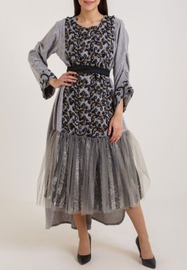 Grey beltted kaftan