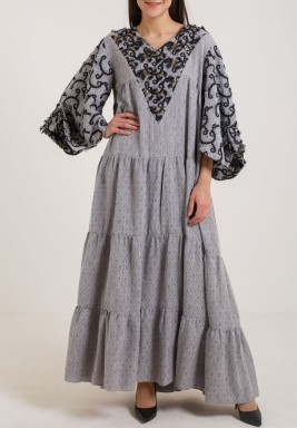 Grey Embroidered Tiered Kaftan