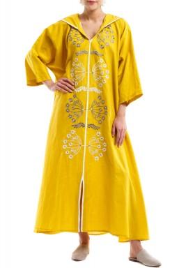 Linen embroidered yellow kaftan
