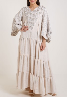 Beige Embroidered Tiered Kaftan