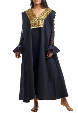 Black Square-Cut Ruffled Sleeves Kaftan