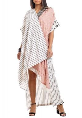 White & Pink Patterned Wrap Kaftan