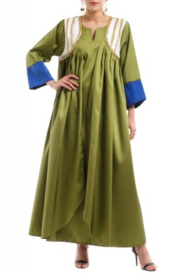 Olive Embroidered Pleated Kaftan