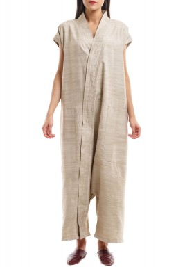 Beige front zipper jumpsuit