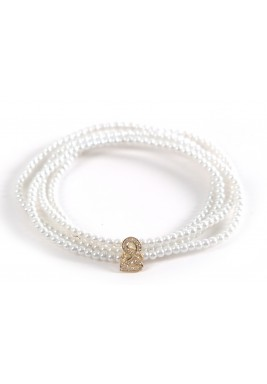 Jeem Diamond and Gold White Pearls Bracelet
