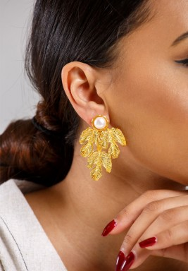 Gold Plated Autumn Leaves Earring