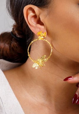 Bee on flower earrings