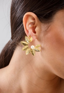 Gold Plated Sun Flower Earring