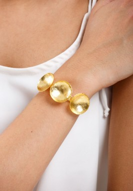 Gold Plated Curved Coins Bracelet