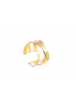 Gold Plated Crossed Lines Hand Cuff