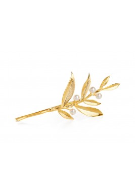 Gold Plated Pearled Branch Hair Clip