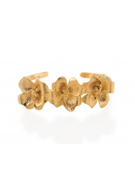 Gold-Tone Flowers Cuff Bracelet