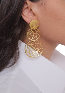 Gold Plated Cracked Rounds Earrings