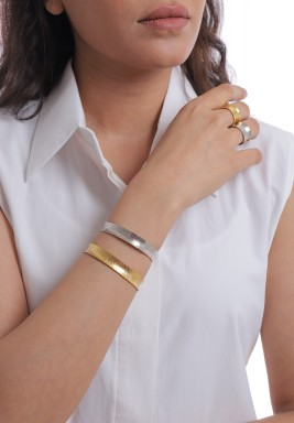 Gold & Silver Curved Set Of 2 Bracelets & 2 Rings