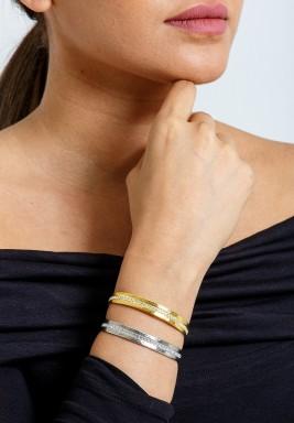 Gold & Silver Crystal Line Bracelet Set