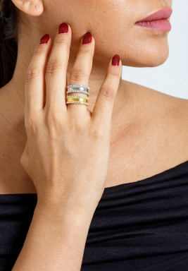 Gold & Silver Double Crystal Lines Rings Set