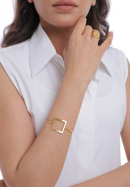 Gold Square Set Of A Bracelet & Ring & Earrings
