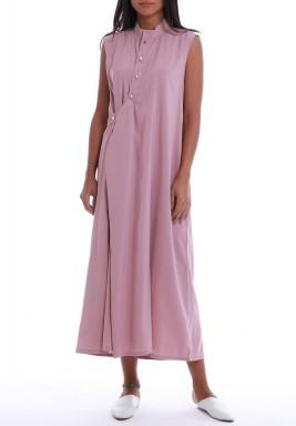 Pink Tencel Sleeveless Midi Dress