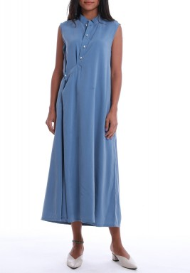 Blue Tencel Sleeveless Midi Dress