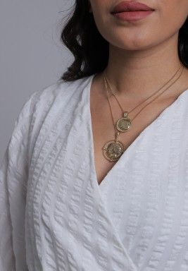Gold-Tone Layered Round Pendants Necklace