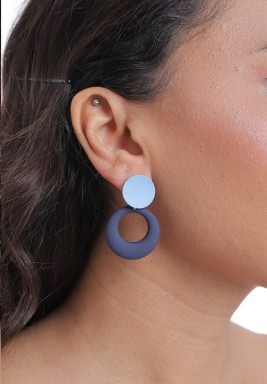 Blue Two-Toned Round Drop Earrings