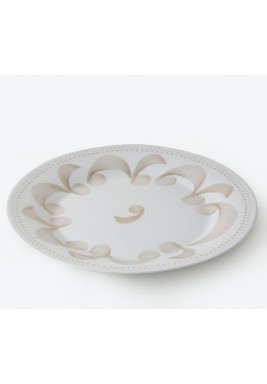 "Porcelain 10.5""Dinner Plate Dotted Set of 6 Gold"