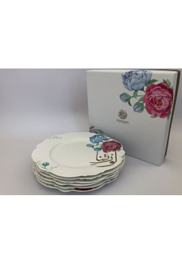 "Porcelain 10.5""Dinner Plate Flower Set of 6"
