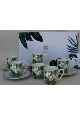 Porcelain Coffee Cup Leaves Set of 6
