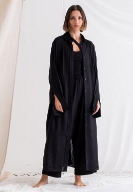 Black Long linen shirt