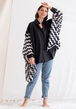 Black Oversized Printed Sleeves Shirt