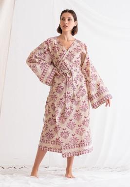Beige Printed Wrap Dress