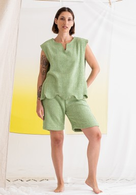 Green Top & Shorts Towel Set