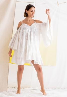 White Cold Shoulders Short Dress
