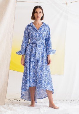 Blue Printed Belted Dress