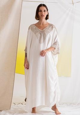 Ecru Beaded Maxi Dress