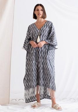 Ikat Grey Printed Tasseled Hem Dress