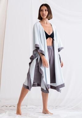 Light Blue & Grey Shawl Coverup & Shorts