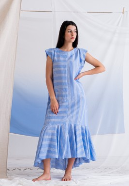 Blue Striped Ruffled Dress