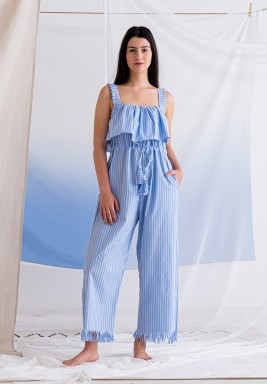 Blue Striped Maxi Jumpsuit