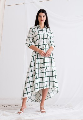 White & Green High-Low Belted Dress