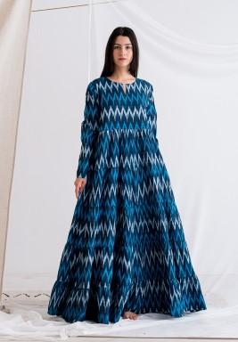 Blue Long Sleeves Maxi Dress
