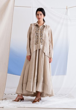 Beige Embroidered Top & Skirt