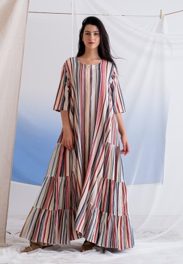 Ahujas Multicolored Striped Dress