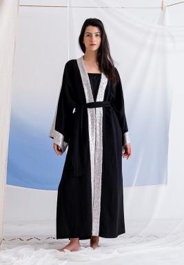 Black Sequined Maxi Abaya